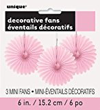 Mini Baby Pink Tissue Paper Fan Decorations, Pack of 3