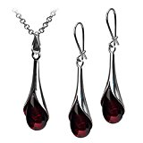 Black Cherry Amber Sterling Silver Tear Drop Earrings Pendant Chain Set 18