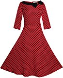 U-shot Women's 3/4 Sleeve Polka Dot 1950s Rockabilly Vintage Evening Party Bridesmaid Swing Dress