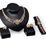 Bridal Bridesmaid Faux Pearl Rhinestone Crystal Necklace Pendant Earring Set