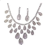 2014 Rhinestone Crystal Necklaces+Earring Hair Stick Bride Jewelry Sets for Bridal Wedding