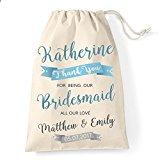 Large Personalised Bridesmaid cotton drawstring bag banner design
