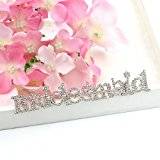 Bridesmaid Crystal Bride name tag Diamante Brooch Wedding style Personalised Party Gifts