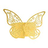 50Pcs Butterfly Napkin Ring Paper Holder Table Party Bridal Wedding Favors Anniversary Decorations Golden Yellow