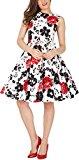 BlackButterfly 'Audrey' Serenity Vintage Rockabilly Floral 1950s Dress (White & Red, UK 12)