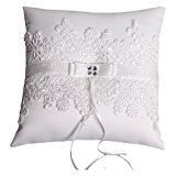 Wedding Ring Pillow Cushion Embroider Flower and Mesh 21cm*21cm---Ivory