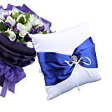 lzn Wedding Ring Pillow Bearer Cushion Bridal Rings Bowknot Rhinestone Flower Pillows