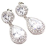 Colorfulday Clear Teardrop Dangle Pave CZ Bridal Wedding Crystal Earrings Prong-set Silver Tone