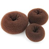Women Hair Bun Maker Styler Rings Donut Buns Doughnut Shaper Chignon Former Pack of 3 Pieces (1Large+1Middle+1Small) (Brown)