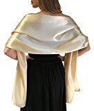 Stunning Silky Satin Bridal Wrap Stole Shawl Pashmina Scarf Weddings Brides Bridesmaids (S-M, Champagne Gold)