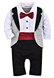 ZOEREA Newborn Infant Toddler Baby Boys Tuxedo Cotton Gentleman Romper Jumpsuit with Tie Wedding Suit 3-18 Months
