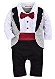 ZOEREA Newborn Infant Toddler Baby Boys Tuxedo Cotton Gentleman Romper Jumpsuit with Tie Wedding Suit 3-18 Months