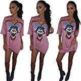 ALAIX Women's Hollow Out Casual half sleeve Deep-v Neck Skull Print T-shirt Dresses Pink-XL