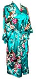CC Collections (Blue Turquoise) Kimono dressing gown robe sexy lingerie night wear dress women lady bridesmaid hen night Japanese oriental peacock style luxurious silk satin rayon natural feel (Blue Turquoise)