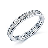 925 Sterling Silver Full Princess Crystal Luxury Accent Love Forever Eternity Engagement Wedding Rings for women teenage girls, Size UK M J L K T N P Q R O I S V Z, with Gift Box, Ideal Gift For All