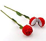 HooAMI Red Rose Flower Design Velvet Jewellery Box Valentine Wedding Ring Gift Case Earrings Storage Display Holder