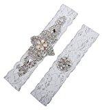 LYDIAGS 2 PCS Wedding Garter Brides Belt Ribbon Lace Garter Excellent Gift for Bride L Ivory