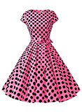 Dressystar Vintage 1950s Polka Dot and Solid Color Party Prom Dresses Rockabilly Cap Sleeves XL Rose Black Dot B