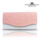 Artemis'Iris Classy Fabric Pink Clutch Purse, Envelope Style Crossbody Bags for Ladies, Well Match Party Wedding Bridal Prom Dating Clutches and Evening Bags, Handbag with Inner Pocket