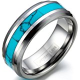 JewelryWe 8mm Comfort Fit Noble Tungsten Ring With Synthetic Turquoise Inlay Mens Anniversary/Engagement/Wedding Band (14) : UK Size - Z+3