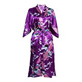 Elite99 Women's Sexy Robes Peacock and Blossoms Kimono Satin Nightwear Dress Long (XL, Purple)