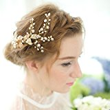 Remedios Rose Gold Crystal Pearl Bridal Side Comb Wedding Party Hair Accessory