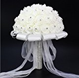 Wedding Bouquet Artificial Rose Bouquets Beautiful Bridal Bridesmaid Flower Crystal Rhinestone Artificial Silk Flowers White