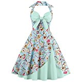 CharMma Women's Vintage Halter Rockabilly Swing Floral Print Tea Cocktail Dress (X-Large, Light Green)