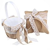 AerWo Lace Bowknot Design Natural Burlap Wedding Accessories Bridal Flower Basket & Wedding Ring Pillow, Perfect for The Most Beautiful Bridal and The Most Romantic Wedding in The World!
