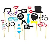 Stylish & Fashionable Just Married Glasses Selfie Prop Kit For Parties! Pre Assembled 20pcs.