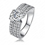AnaZoz Fashion Jewelry Style Women Bride Rings Real 18K Platinum Plated AAA Swiss Cubic Zirconia Inlayed Rings UK Size N 1/2