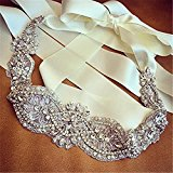 TRLYC Ivory Ribbon Wedding Sash/Belt Bridal Sash Belt Bridal Crystal Rhinestone Applique