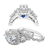 Newshe 2.4ct Round Pear White Cz 925 Sterling Silver Wedding Engagement Ring Set Bridal Size M