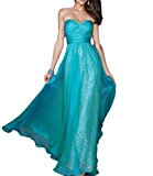 Eudolah Women's Stapless Chiffon Long Maxi Evening Dress Blue UK12