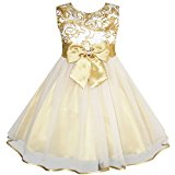 JY64 Flower Girls Dress Bow Tie Champagne Wedding Pageant Age 7-8 Years